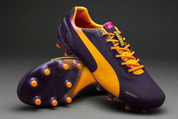 Puma Football Boots - Puma evoSPEED 1.2 FG - Firm Ground - Soccer Cleats - Blackberry Cordial-Flourescent Orange-Flourescent Pink