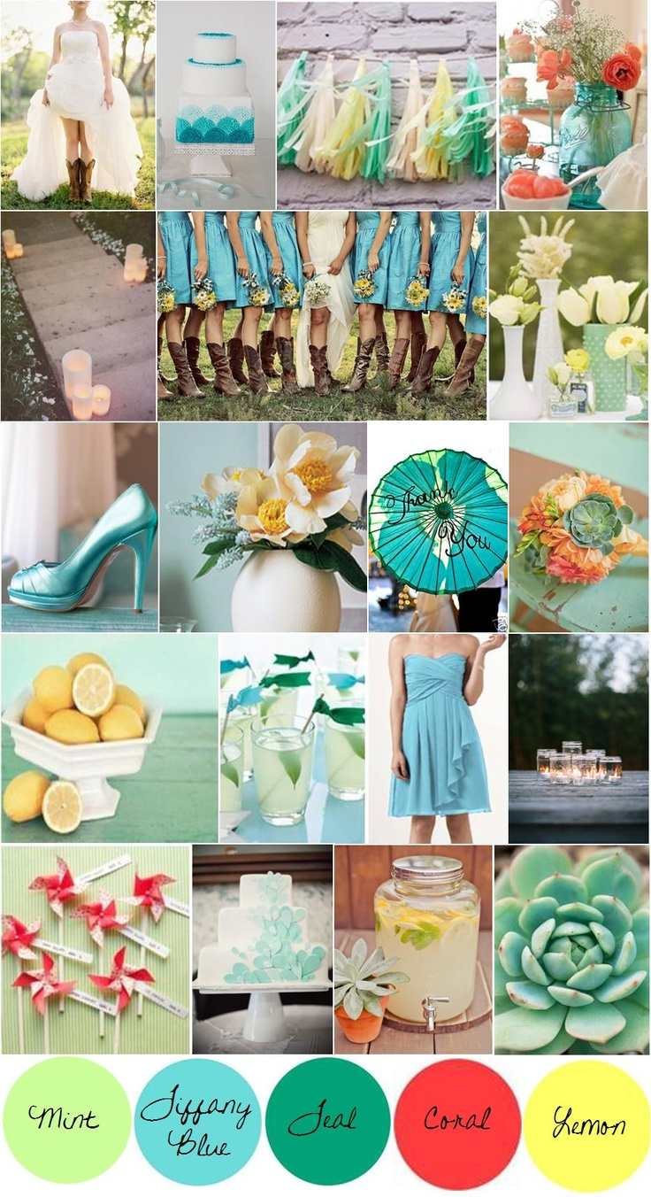 Mint Tiffany Blue Teal Coral And Lemon Wedding Colors Just A Little More To The Color