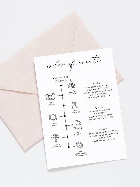Wedding Timeline Welcome Letter Template Boho Wedding Favor