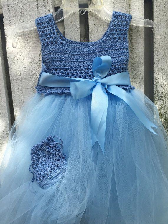 Tulle Dress Crochet Girl Dress Flower Girl Dress by GiftsandKnots