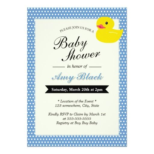Cute Rubber Duck Polka Dots Baby Shower Invitation
