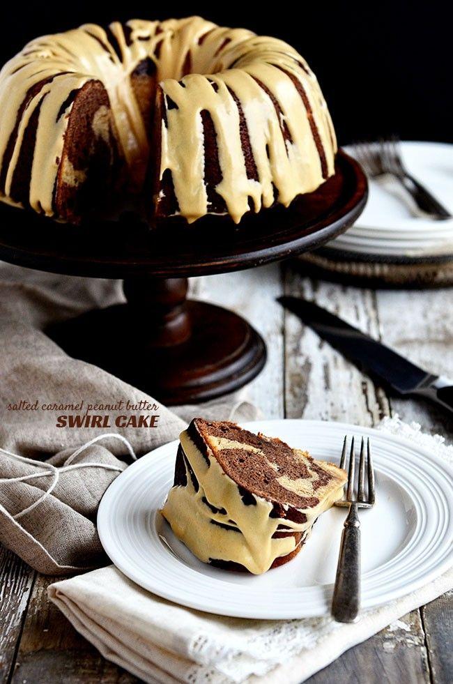 Salted Caramel Peanut Butter and Chocoalte Bundt Cake