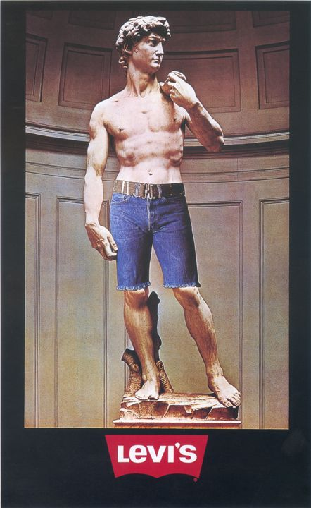 A denim-clad David ad. #Levi #Art #Humor Finally a Michelangelo that I can show my students!
