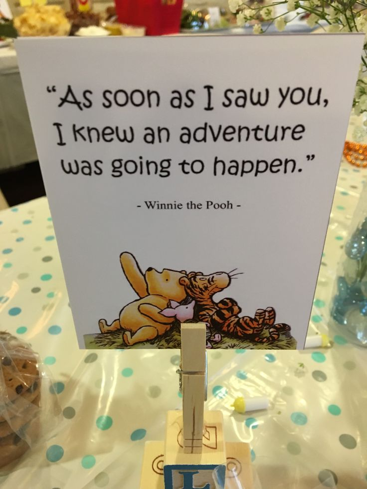 Storybook Themed Baby Shower Quote Centerpiece Winnie the Pooh #poohbear