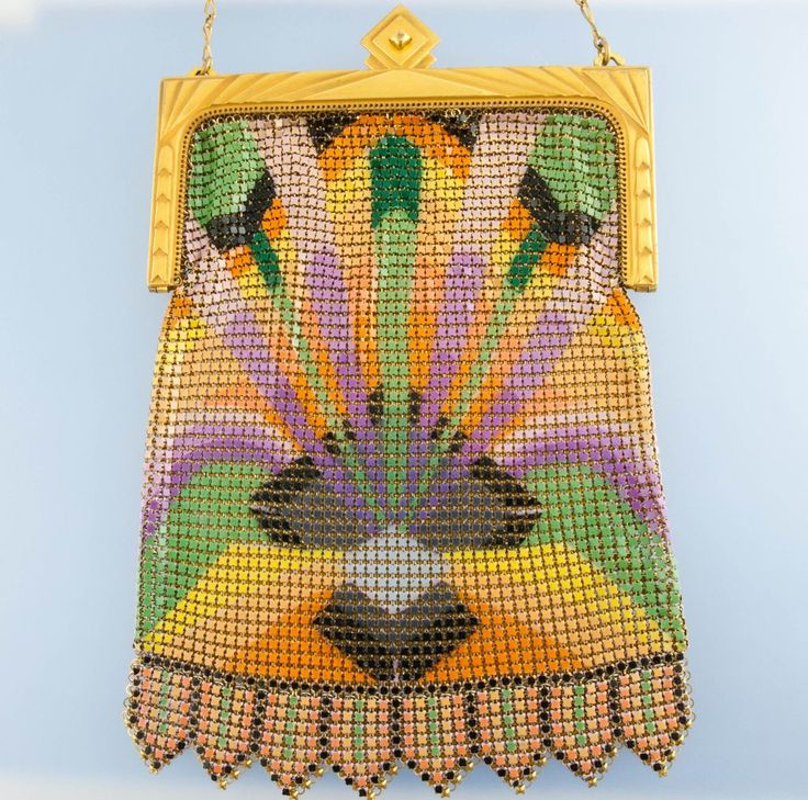 Art Deco Enamel Whiting and Davis Sunburst Purse *1920's, 8 inches by 5 inches, so bright!