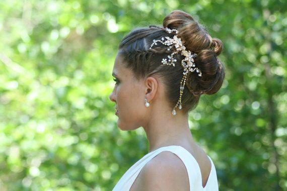 Matrimonio cristallo capelli pettine arabo ciondolo perla fiore Handmade copricapo nuziale capelli gioielli accessorio