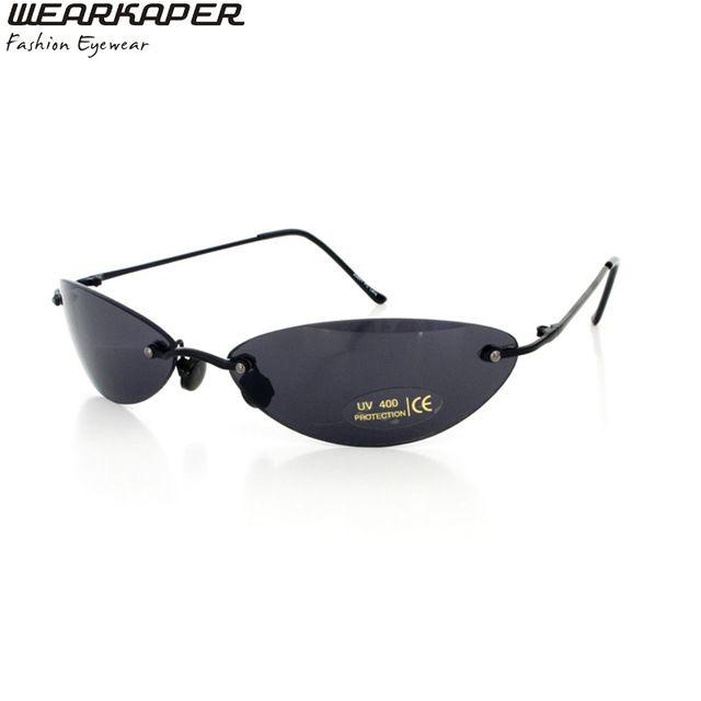 WEARKAPER Çerçevesiz Klasik Oval gözlük Matrix Morpheus Güneş Gözlüğü Matrix Güneş Film güneş çerçevesiz güneş gözlüğü erkekler