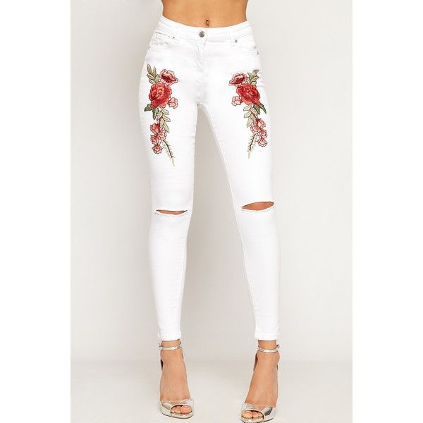 WearAll Floral Embroidered Rip Knee Skinny Jeans ($42) ❤ liked on Polyvore featuring jeans, white, denim skinny jeans, white ripped jeans, distressed jeans, ripped jeans and flower embroidered jeans