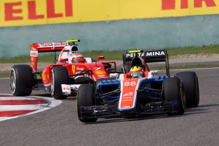 17.04.2016 - Race, Rio Haryanto (IND) Manor Racing MRT05 leads Kimi Raikkonen (FIN) Scuderia Ferrari SF16-H