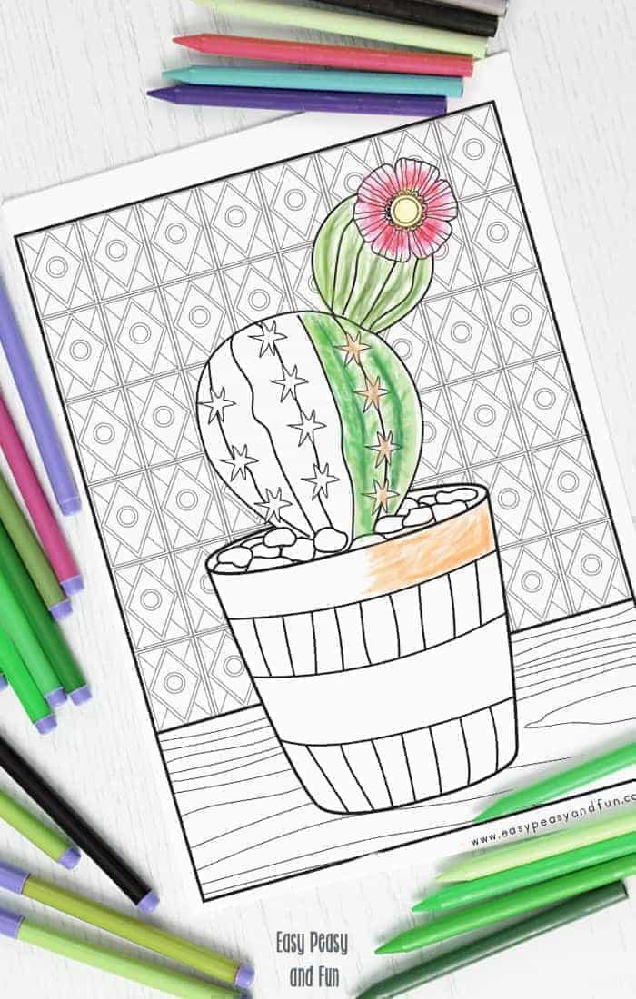Cutest Cactus Coloring Page Coloring Pages Pinterest Coloring