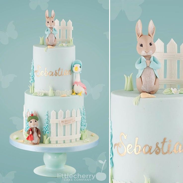 From the walking dead, to Peter rabbit ;) #cherrycakeco #cake #instacake #peterrabbit #jemimapuddleduck #benjaminbunny #christeningcake #blueandgold