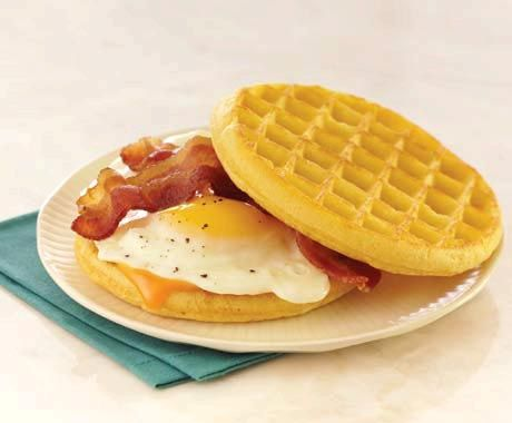 Bacon, Egg, and Cheese Waffle sandwich | Food 411: Breakfast! | Pinte ...