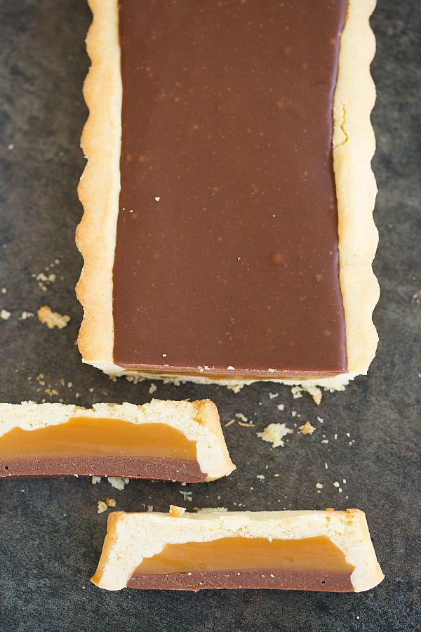 Twix Candy Bar Tart | browneyedbaker.com #recipe