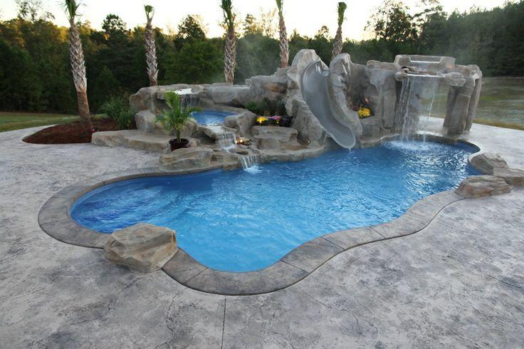 Underground pool with slide