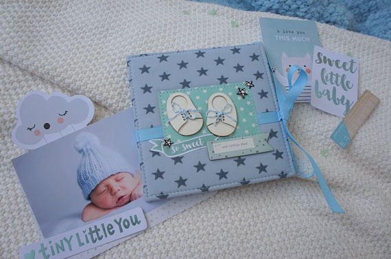 Baby Boy Photo Album First Year Baby Album Gender Reveal Party