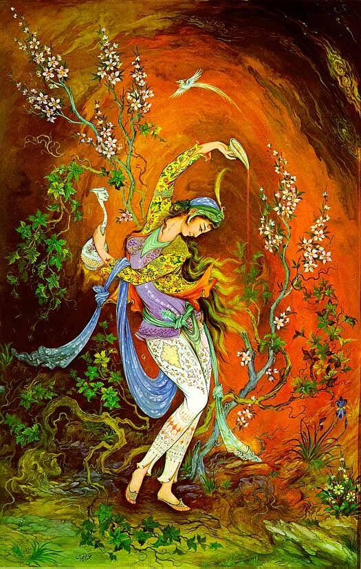 Name: Yalda night - Artist: Mahmoud Farshchian - Size : 40 cm x 29 cm Print - Type: Lithograph Paint type: Persian painting and miniatures - Date of Creation: 1997- Original/Reproduction: Original Print