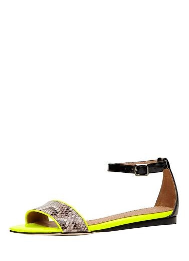 Flat sandal with snake strap and patent pop colour contrast trim with thin patent ankle strap.
