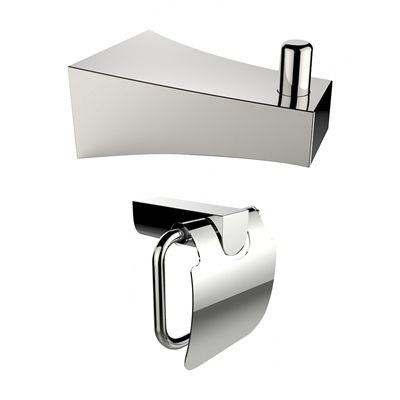 American Imaginations AI-13287 Chrome Plated Toilet Paper Holder and Robe Hook Accessory Set