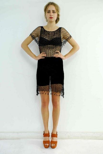 Vintage black beaded dress. Click to buy!