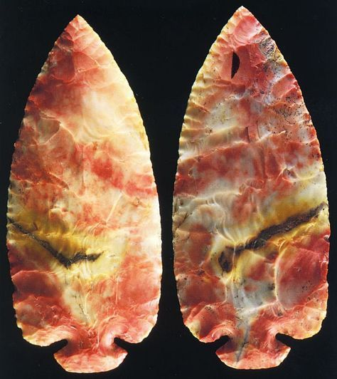 """7,500 to 5,000 BCE. The Hooks (Kook?) wide-small-base style Red Flint Dovetail blade found in Madison County, Ohio. 5"""" LONG, a rare red variety of Flint Ridge flint. The blade is formally known as a St. Charles point."""