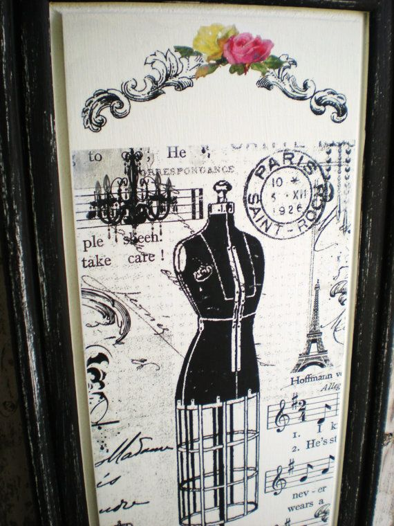 Wood Wall Plaque French Label Dress form UpCycled by bigredbarnbam,