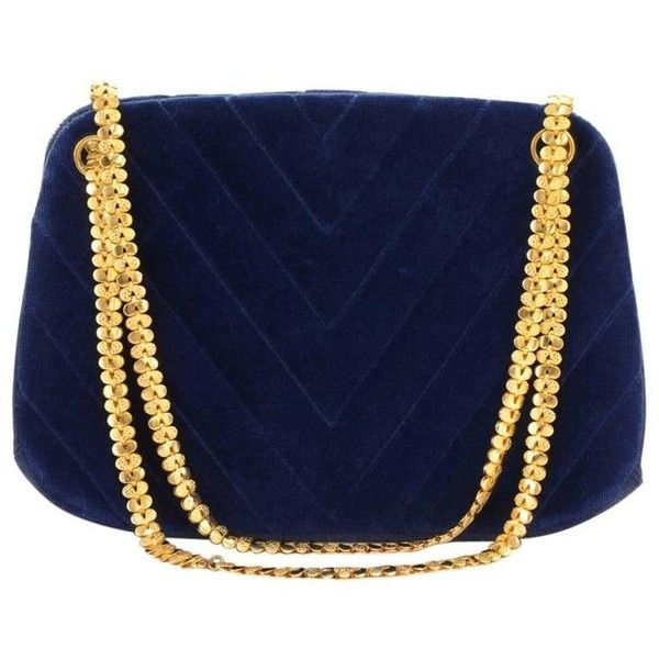 Preowned Chanel Blue Navy Quilted Velvet Shoulder Party Bag ($1,499) ❤ liked on Polyvore featuring bags, handbags, shoulder bags, blue, kiss lock purse, shoulder strap handbags, navy shoulder bag, shoulder strap bags and quilted shoulder bag