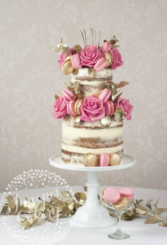 Featured Cake: Juniper Cakery; Breathtaking pink and gold macaron wedding cake