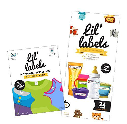 nice Lil' Labels Daycare Value Pack Write on Name Labels, Waterproof, Baby Bottle Labels (Animal Friends) & Clothing Labels, Plus 2 Bonus Gifts