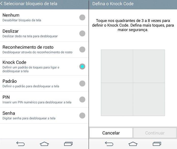 Knock Code permite desbloquear o LG G3 com uma série de toques pré-configurados (Foto: Reprodução/Lucas Mendes)