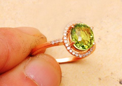 Fabulous  Carat Green Tourmaline Engagement Ring by SteveleeJewelry