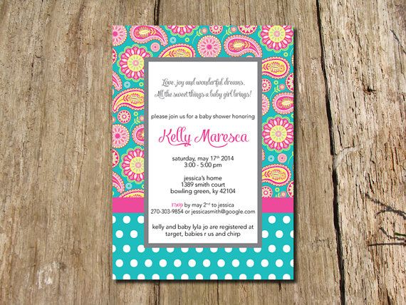 Paisley Baby Shower Invitation - bright and colorful! by jlcprintables