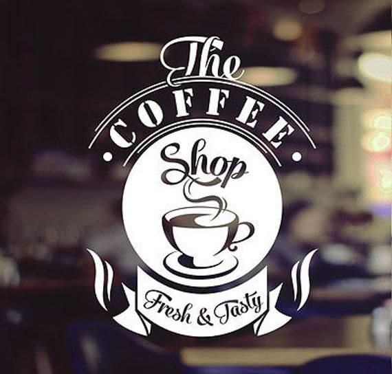 Coffee Shop Tasty Takeaway Cup Window Sign Vinyl Sticker Graphics