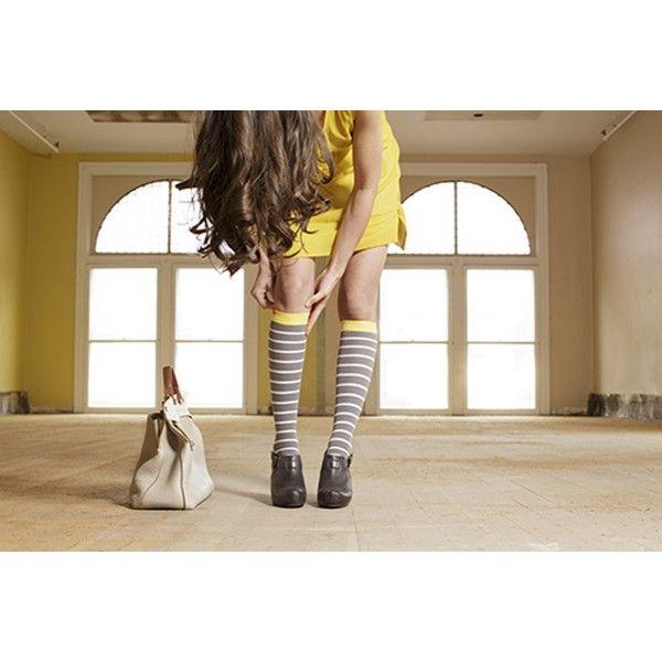 VIM & VIGR Nautical Stripe Compression Socks 15-20 mmHg in Grey, White & Yellow - BrightLife Go #stripes #compressionsocks #dress #summer #yellow #purse #vimvigr #ootd #boots #heels #summerdress