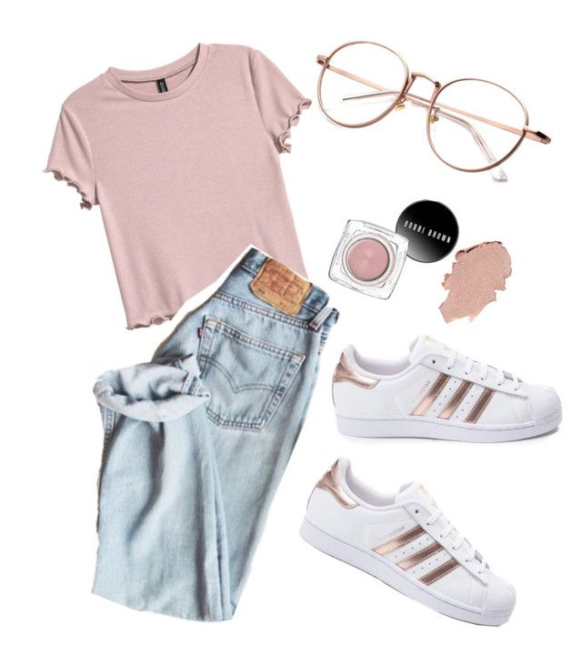 """rose gold baby"" by eveetha ❤ liked on Polyvore featuring H&M and adidas"