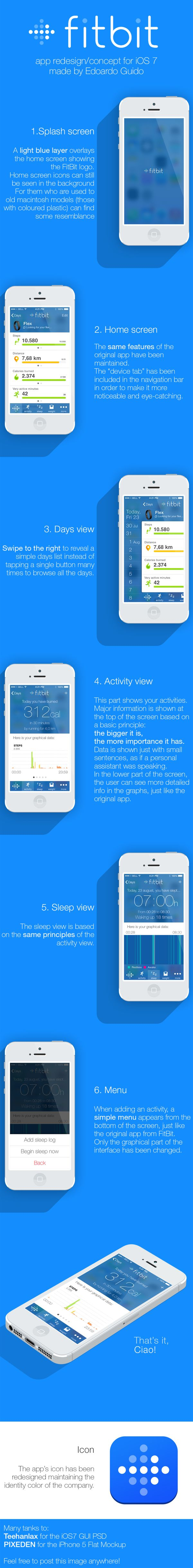 FitBit's iOS7 concept app by Edoardo Guido, via Behance