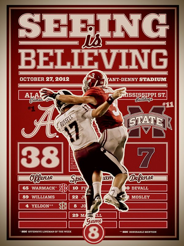Alabama 38 Miss St 7 - Vinnie Sunseri - Win 2012 on Behance | #Alabama #RollTide…