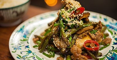 Garlic & Ginger Fried Beans with Wild Mushrooms and Pork