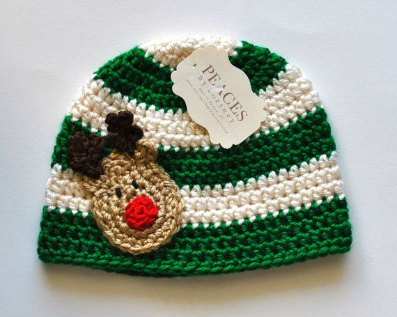 Rudolph Reindeer Christmas Holiday Beanie Hat  by peacesbycortney. , via Etsy.