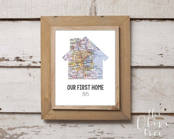 Our First Home Mapt Print, Custom Personalized Printable, DIGITAL FILE Wedding decor, Marriage, House Shaped