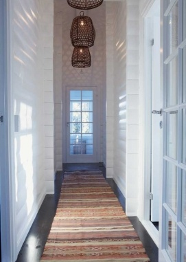 Lovely lamps in narrow hallway