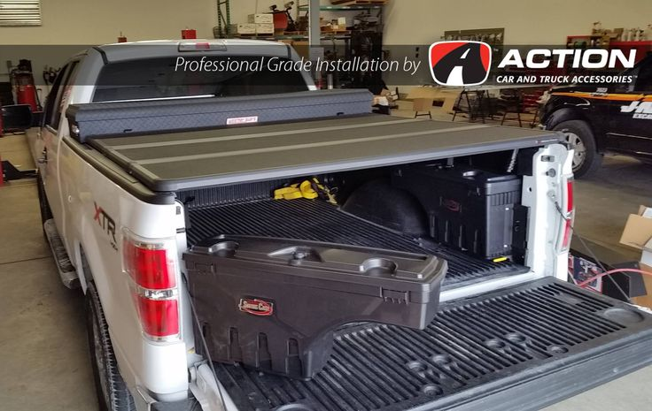 2014 F150 with a Solid Fold 2.0 Tonneau Cover by Extang, Matte Black Tool Box by Weatherguard and Swingcases by UnderCover Tonneau Covers installed by our store in London, ON #ProfessionalGradeInstallation