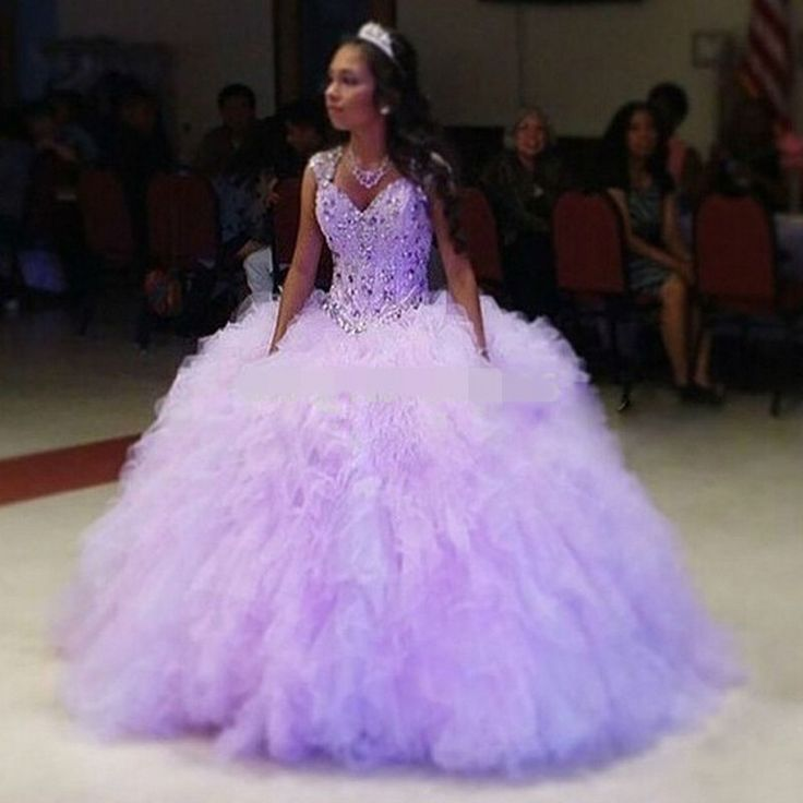 Romantic Lilac Quinceanera Dress 2016 Fluffy Tulle Sweet 16 Dresses Ball Gown Cap Sleeve Girls Debutante Dress Vestido de 15 nos