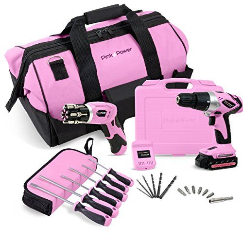 "Pink Power 18V Lithium-Ion Cordless Drill Driver & Electric Screwdriver Combo Kit with 20"" Tool Bag #Pink #Power #Lithium #Cordless #Drill #Driver #Electric #Screwdriver #Combo #with #Tool"