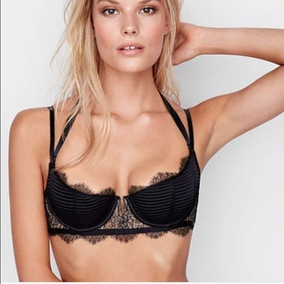 Victoria's Secret Dream Angels Balconet Bra Black Dream Angels Balconet Demi bra. Adorable black lace details and removable ribbon that ties around your neck. 36C. Seriously the cutest bra! Victoria's Secret Intimates & Sleepwear Bras