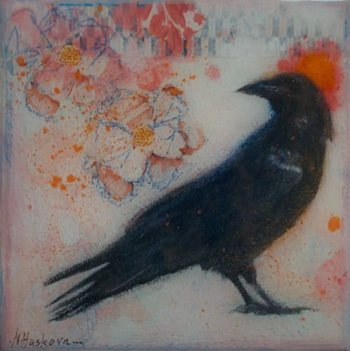 """Nikol Haskova CROWN AND TEA ROSES / Canada House Gallery - mixed media, resin, panel 6"""" x 6"""""""