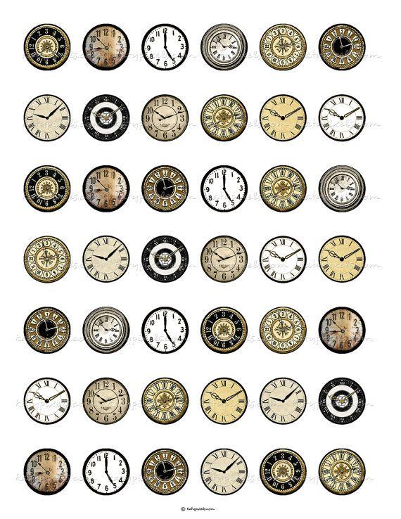 DESCARGA instantánea Vintage reloj enfrenta a 1 por katypixels