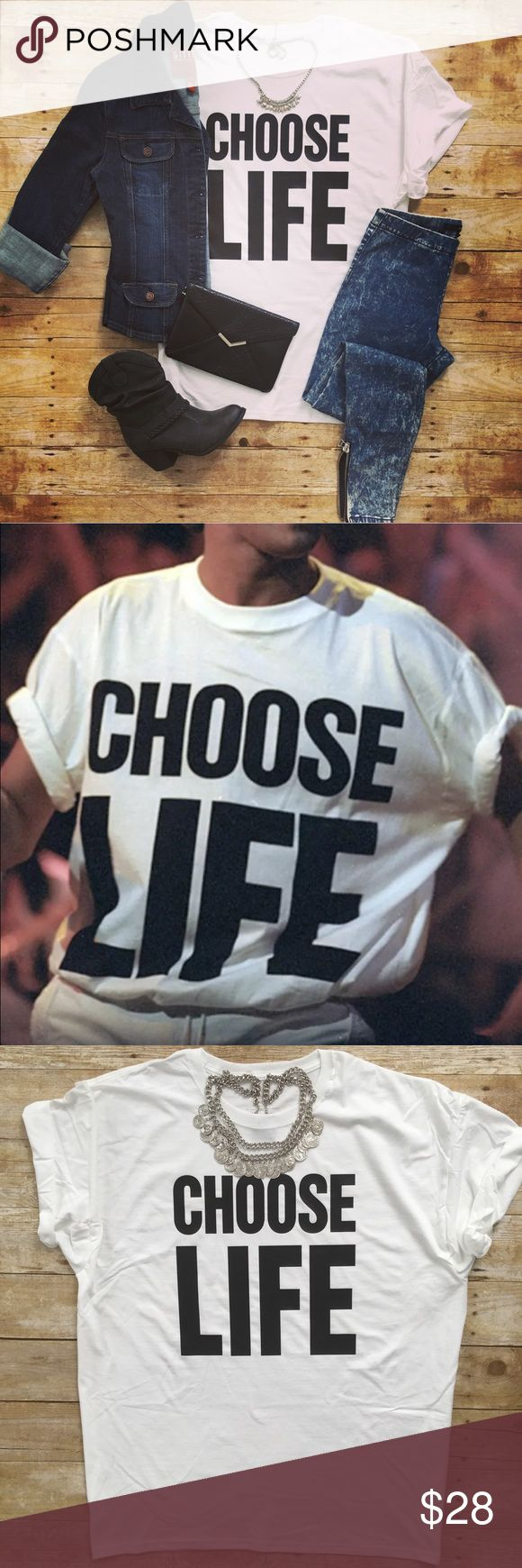 CHOOSE LIFE George Michael WHAM! 80s Retro T-Shirt Katharine Hamnet style CHOOSE LIFE design made popular by iconic 80s band WHAM! A very fun stand out tee! Great for anyone!! Makes a great gift!! White w/BLACK Letters Crew Neck   Short Sleeves Unisex Fit   Loose Tee 100% Cotton   Pre-Shrunk Brand New!!   Never worn!! SHIPS FAST    ❌No Offers Please❌ Available Sizes: S-3XL   Unisex Adult Tee Size chart estimated, not all shirts exact to dimensions. Numbers listed in inches, please allow up…