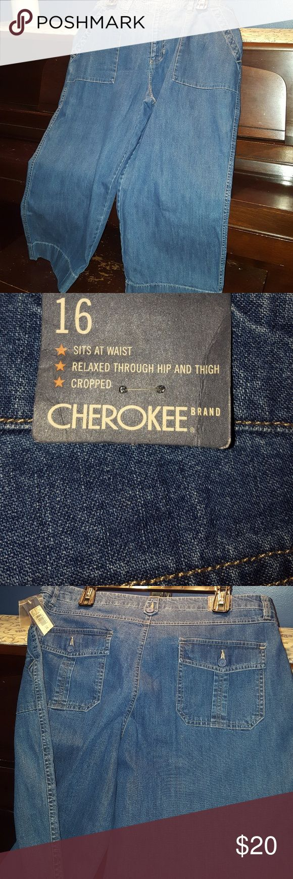 NWT Jean Capris New with tags size 16 Cherokee brand fatigues. Denim cotton. Cherokee Jeans