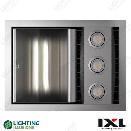 Silver IXL Neo Tastic Single Bathroom 3 In 1 Heater Exhaust & LED Light - Bathroom Lighting - Lighting - Lighting Illusions Online