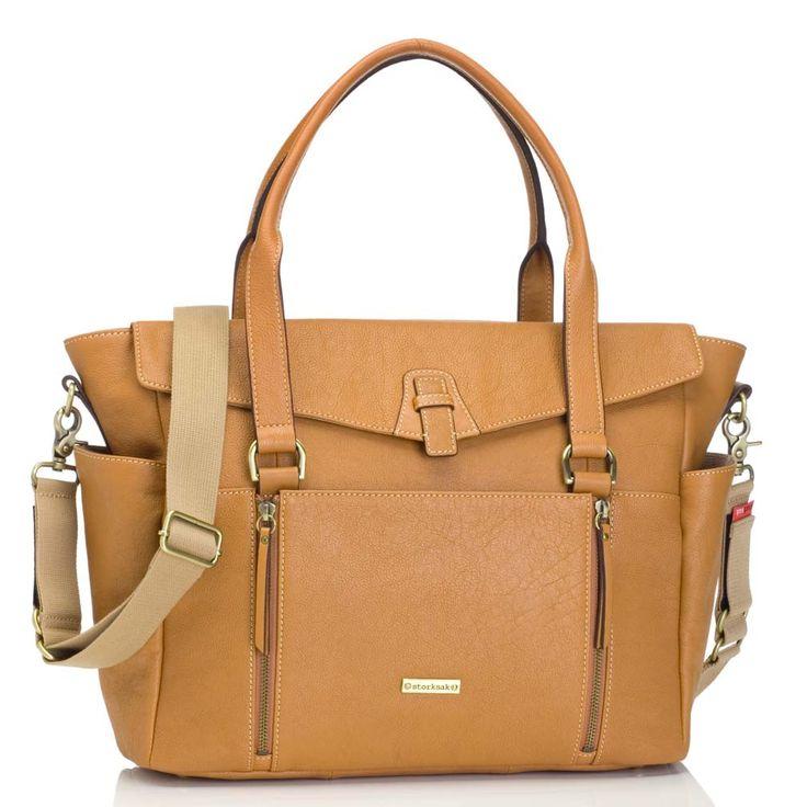 Emma Leather Diaper Bag - Tan by Storksak